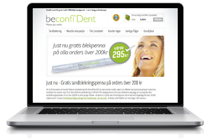 Beconfidents® hemsida, köp tandblekning via Beconfident webbplats
