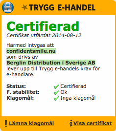 Trygg E-handel certifikat på Confidentsmile tandblekning
